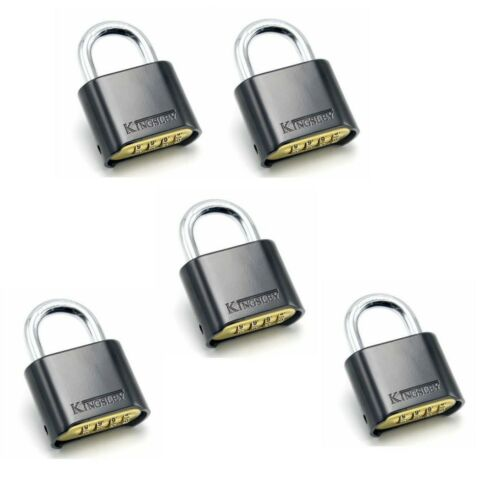 LOT OF 5 Resettable Kingsley Combo Lock (Combination Padlock) Hardened Steel