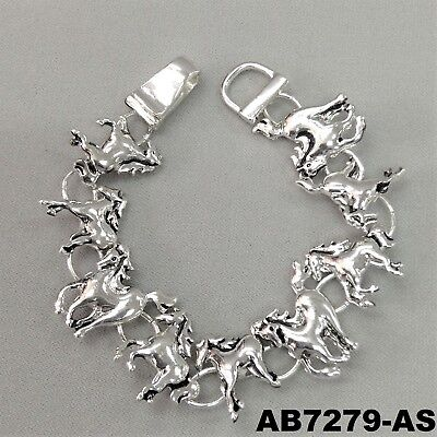 - Wild Country Horses Charms Design Silver Finish Magnetic Bangle Wrist Bracelet