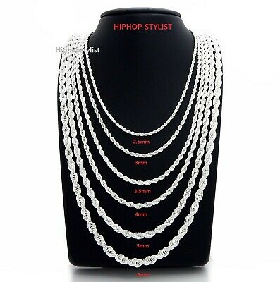 Mens Rope Chain Necklace Bracelet 2.5mm to 6mm 925 Silver Plated 18, 20, 24, 30""