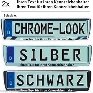 2 Aufkleber für Kennzeichenhalter mit deinem Text, Kennzeichen Aufkleber