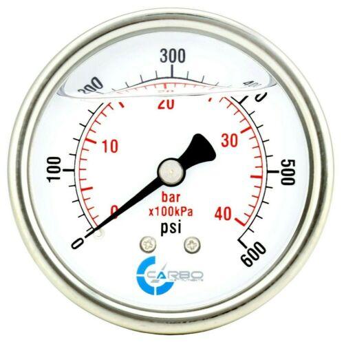 "2-1/2"" Pressure Gauge, ALL STAINLESS STEEL, Liquid Filled, Back Mnt, 600 Psi"