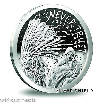 Silver Shield   Never Trust Government Proof    999 Pure   Beautiful Art   Sbss
