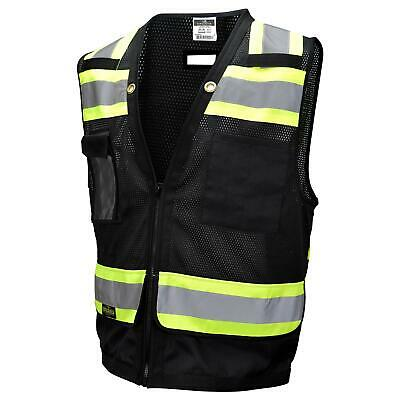 Radians Type O Class 1 Heavy Duty Surveyor Safety Vest, Black Class 1 Safety Vest