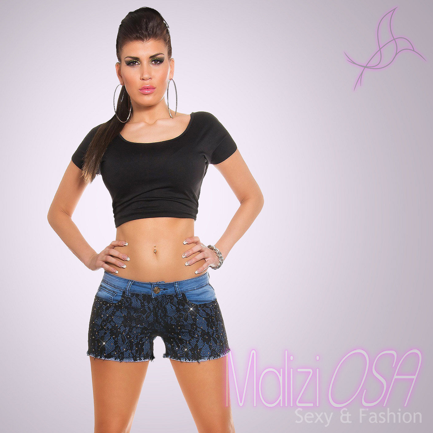 bc2b94c9af6217 Pantaloncini jeans donna shorts pizzo Strass hotpants skinny nuovi corti