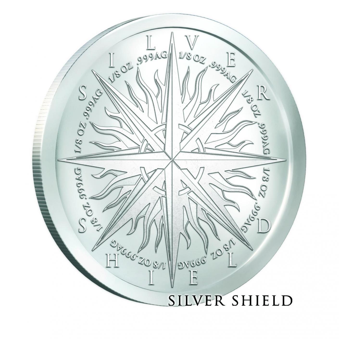 Pieces of Eight A Predator World Silver Shield 1oz Silver PIRATE Round BACKORDER