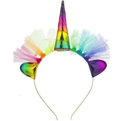 Lux Accessories Unicorn Rainbow Tutu Halloween Costume Party Accessory Headband