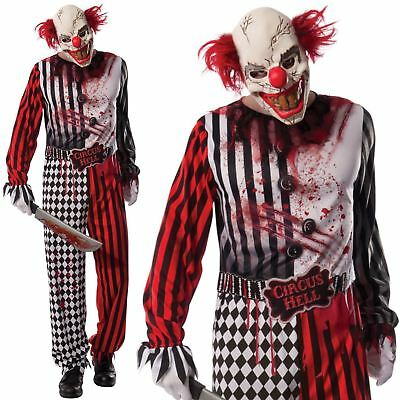 Adult EVIL CLOWN Killer IT Fancy Dress Costume Mens Horror Hell Outfit Halloween