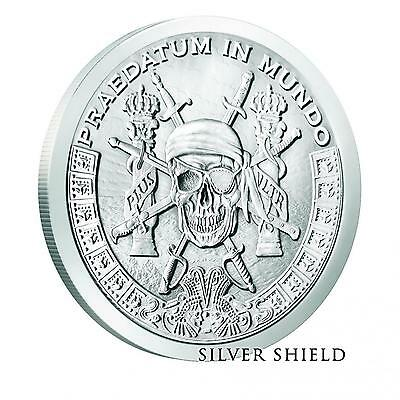 Pieces of Eight A Predator World Silver Shield 1oz Silver PIRATE Round BACKORDER