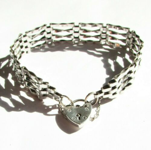 Vintage silver sterling gate bracelet with heart lock clasp 7 1/4 inches