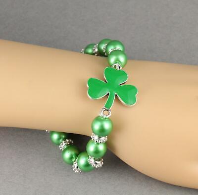 shamrock bracelet stretch green clover stretchy beaded metal charm faux pearl