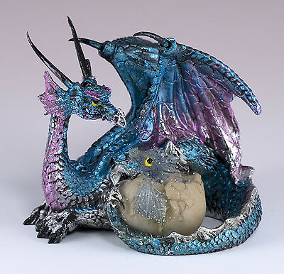 """Small Blue & Purple Dragon w/Baby In Egg Figurine 3.25"""" Long Detailed Resin New!"""