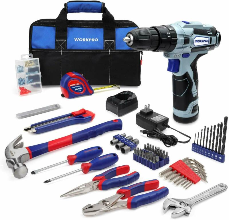 Home Tool Kit and 12V Cordless Drill, 177 Pieces Combo Kit w