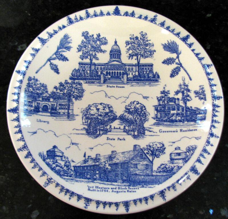 Scarce AUGUSTA, Maine Vintage Blue Vernon Kilns Collector's Plate circa 1940s