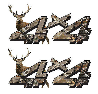 Camo 4 X 4 Decals ((2 Pack!) 4x4 Deer Camo Decal Sticker Chevy Silverado GMC Dodge Ram Ford Sierra )