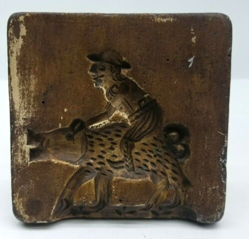 Vintage Primitive Folk Art Cookie Butter Mold Man Riding Wild Pig Wall Decor