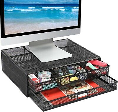 Monitor Stand Riser With Drawer - Mesh Metal Desk Organizer Pc Laptop Notebook