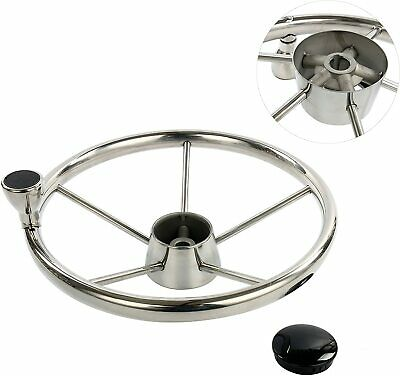 13-1/2'' 5 Spoke Stainless Steel Boat Steering Wheel Destroyer Style with Knob