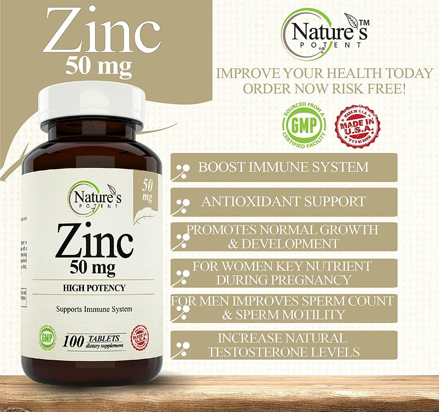 Zinc 50mg, [High Potency] Immune System Support - Immunity Booster (100 Tablets) 1