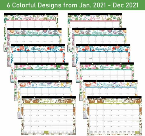 "2021 Desk Calendar - 17"" x 12"" - Desk or Wall Calendar, Large Ruled Blocks"