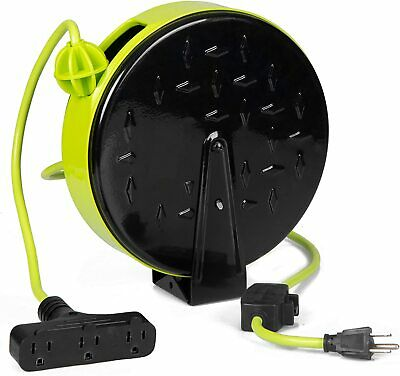 30Ft Retractable Extension Cord Reel with Breaker Switch