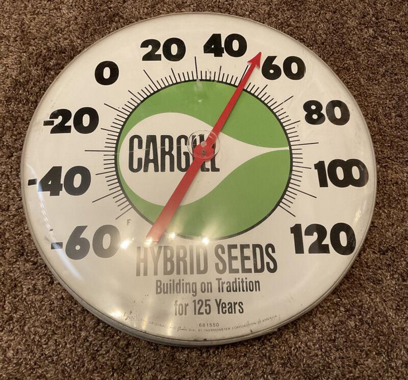 Vintage CARGILL Seeds Hybrid Corn Advertising Thermometer JUMBO ROUND Dial