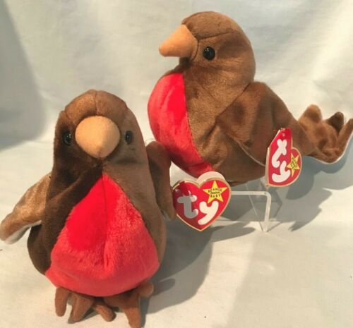 Early Robin Lot of 2 Ty Beanie Babies #4190 1998 PE Retired  $9.99