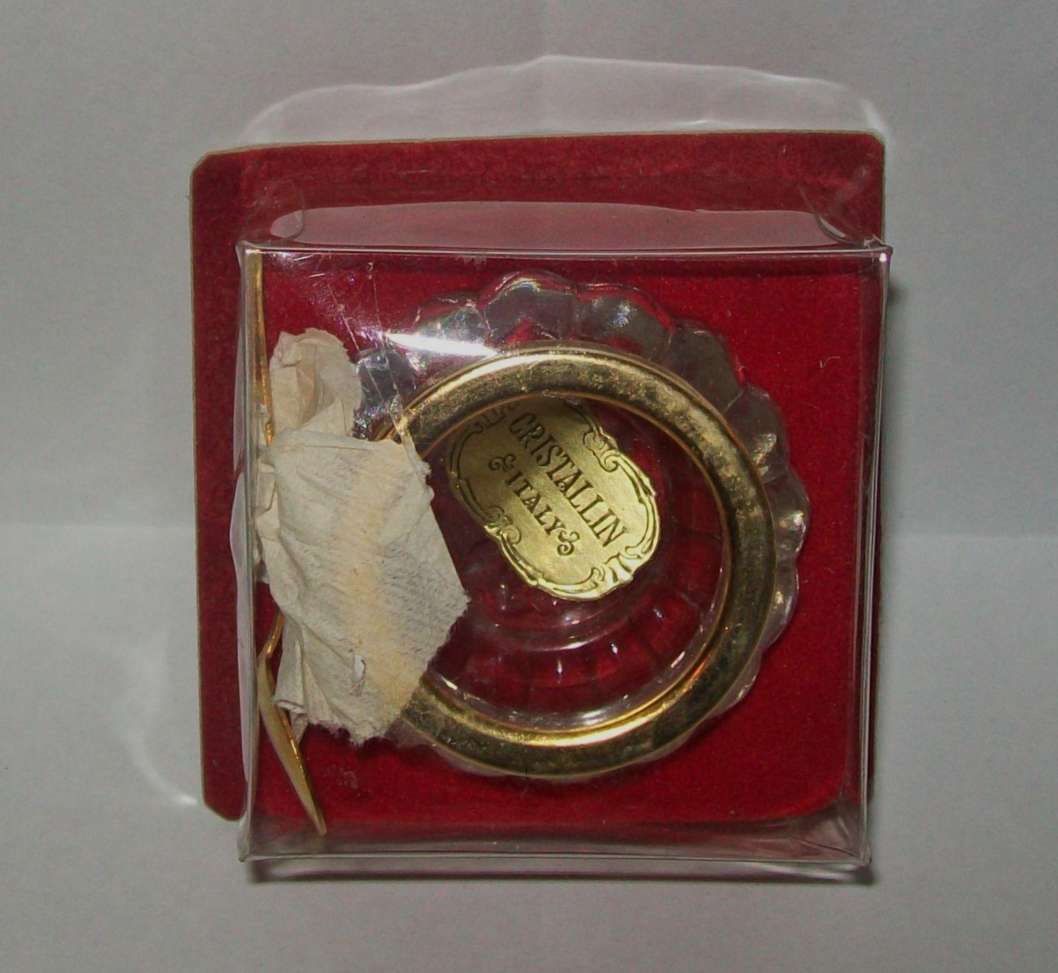 VINTAGE 'CRISTALLIN ITALY' GLASS SALT/MUSTARD POT gold-tone edge+spoon in box