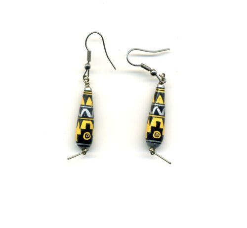 Peru Andes Earrings:Teardrop shape Handpainted ceramic - yellow and black shades
