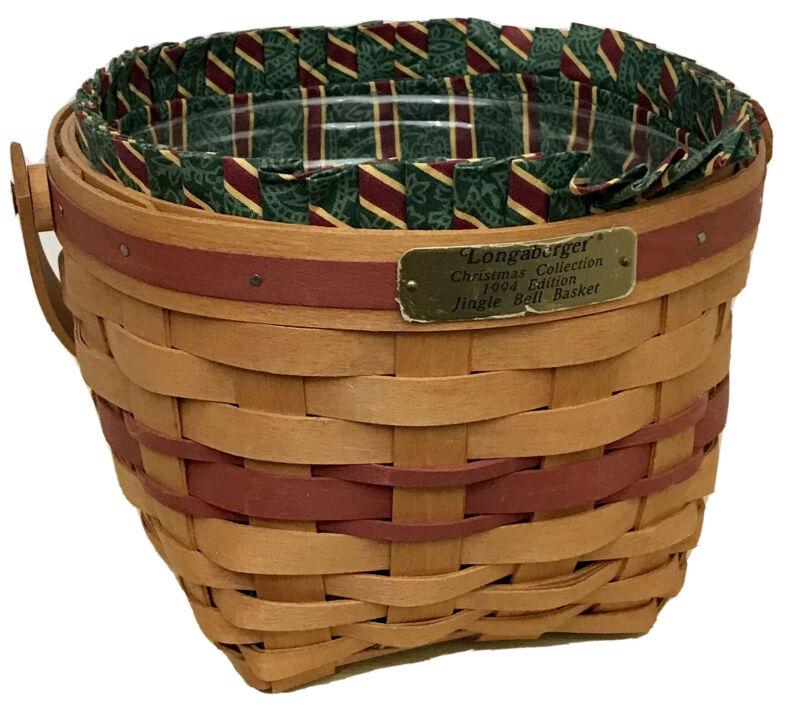 Longaberger Christmas Jingle Bell Basket 1994, Protector, Imperial Stripe Liner