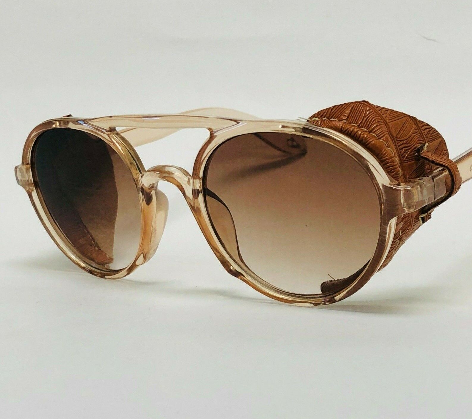Mens Women Sunglasses Vintage Steampunk Side Shields Leather Round Retro Shades