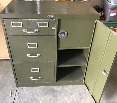 Vintage Filing Cabinet With Safe Od Green Challenger