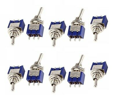 10 Pieces Mini 6a 125v Ac Spdt Mts-102 3pin 2 Position On-on Toggle Switch Usa