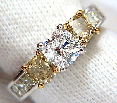 GIA certified 1.01ct Cushion cut diamond & 1.02ct fancy yellows ring 14k G/vvs2+