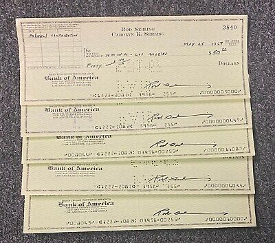 Lot of (5) Rod Serling TWILIGHT ZONE Signed Checks Autographed AUTo