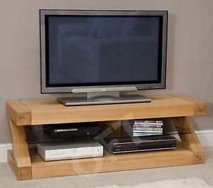 Z Plasma Television Cabinet Stand Unit Solid Oak Designer