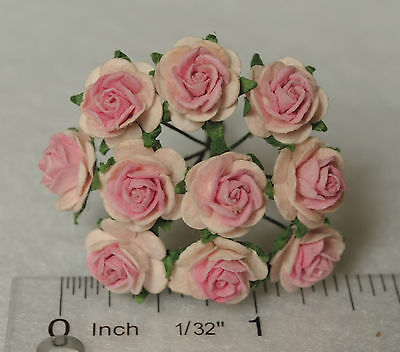"""Mulberry Paper Flower Tiny Rose Pale Pink & Light Pink  5/8"""" 15mm miniature"""