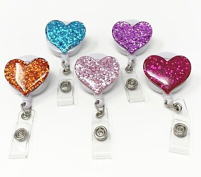 5 Pack Glitter Bling Love Heart Retractable Id Badge Reel Holder Swivel Clip