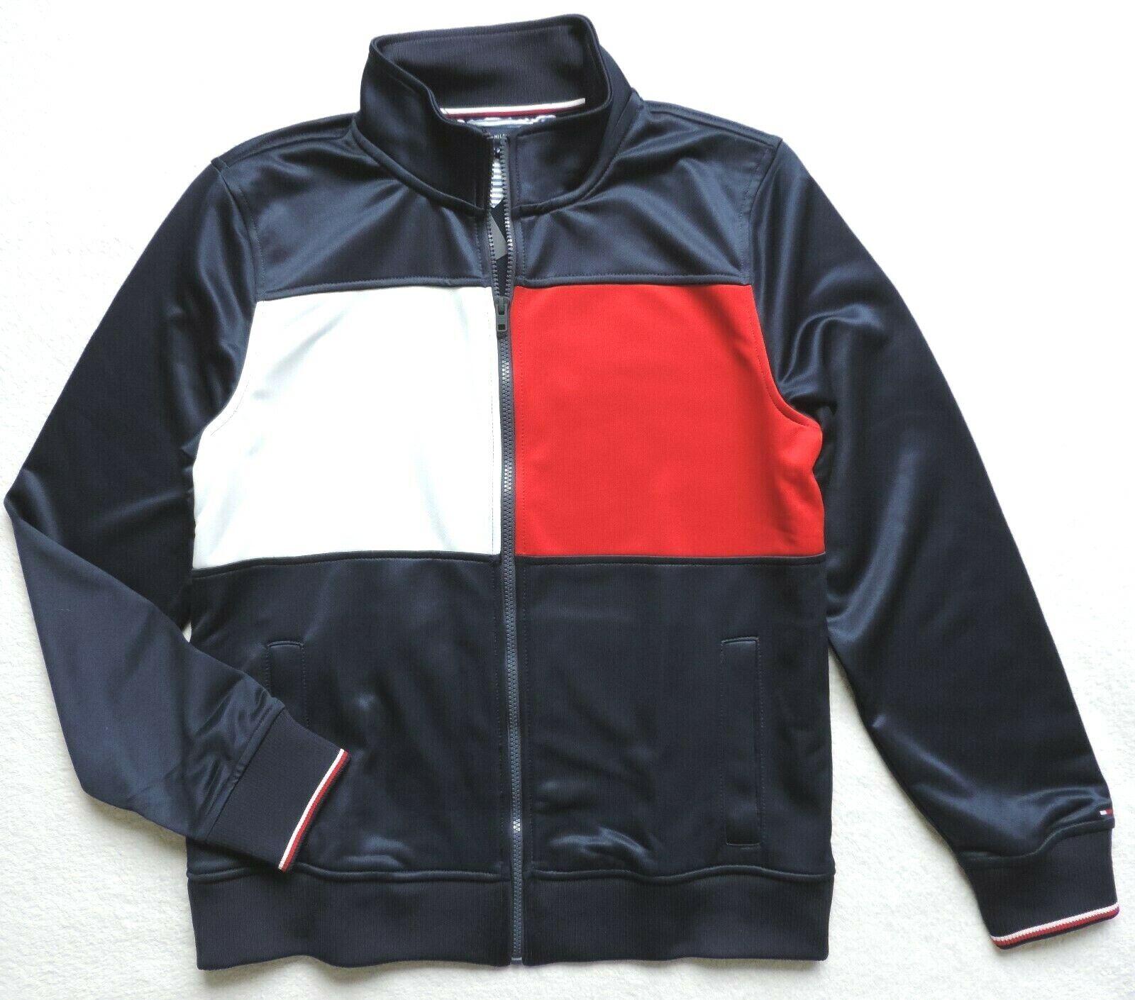 Tommy Hilfiger Herren Logo Reißverschluss Trainingsjacke, Marineblau/Rot/