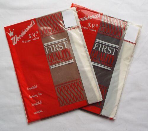 2 Pairs Vintage-New Stockings Size 9.5 Nylons Black & Brown Sheer Seamless Mesh