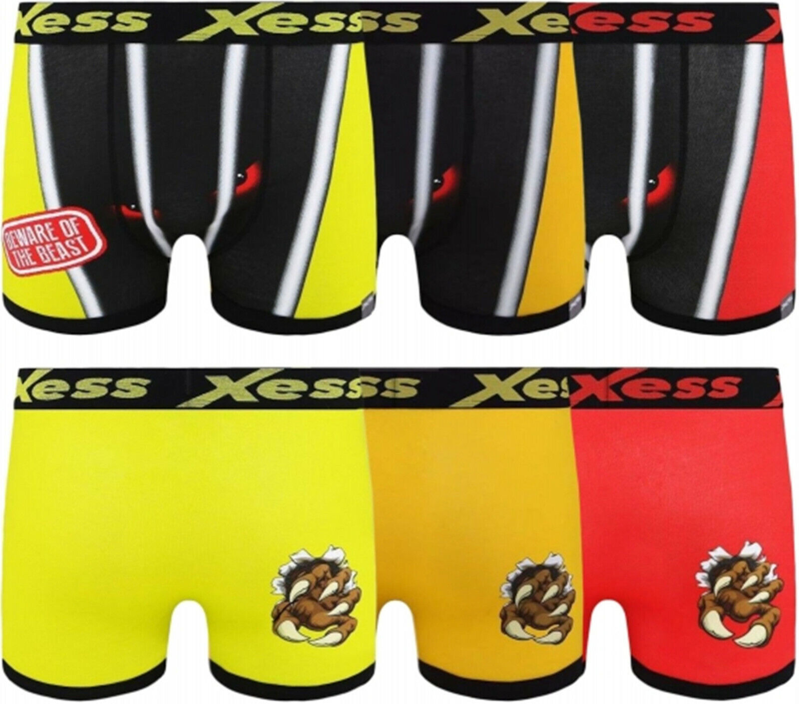 Mens Youths Xess Funny Rude Novelty Boxer Shorts - Beware Of The Beast S M L XL