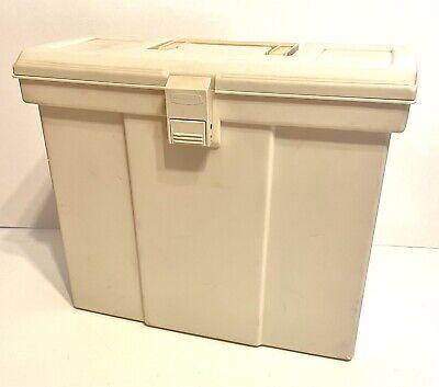 Vintage Rubbermaid Portable Beige File Tote Handle Storage Box Papers 14x11x6
