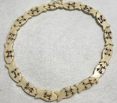 Approximately 16 Beads - 1 inch Antiqued Bone Fish Beads, Approximately 16 Beads per 16