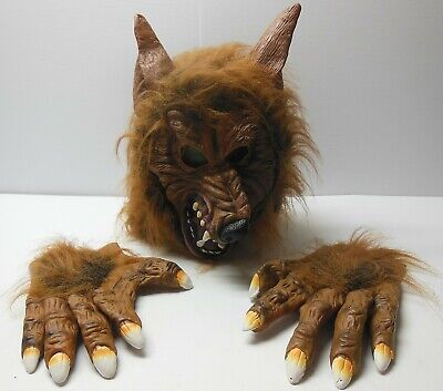 Halloween Wolf Claws (WOLFMAN WEREWOLF WOLF MASK With GLOVES CLAWS HANDS HALLOWEEN Costume Adult)
