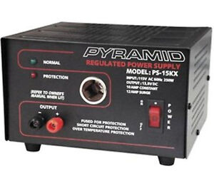 PS15KX 10A 13.8-Volt Power Supply with Cigarette Lighter Adapter 120vAC to 12vDC