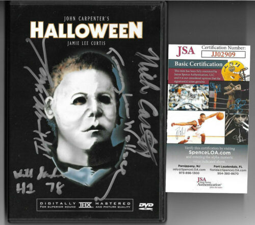 Halloween Cast Signed DVD Autograph, Nick Castle, Moran, Wallace, Sandin JSA COA