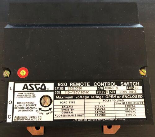ASCO 920 Remote control switch 110-120v 60hz 30 amps 2 poles 92023030  NEW noBOX