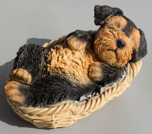 Airedale Terrier Dog Statue Figurine Puppy Laying Basket Souvenir Pet Lover Gift