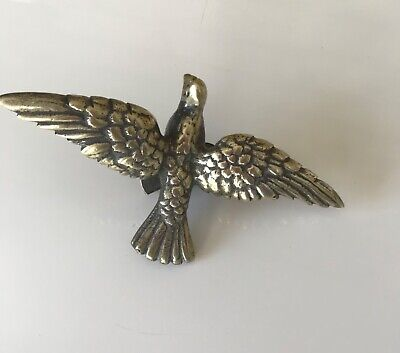 Antique BRASS PIGEON IN FLIGHT WALL/ LOFT MOUNTING CLOCK FRONT CENTRE PIECE