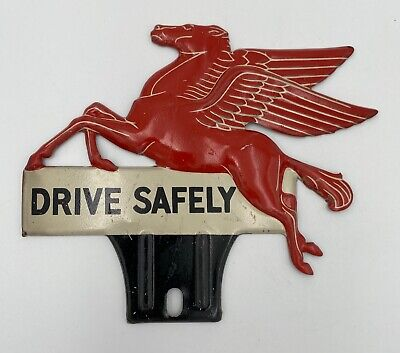 1940s Unused MOBIL OIL Pegasus License Plate Topper Tag Tin Sign NOS Drive Safe