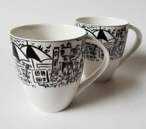 Mikasa Ultima Parisian Scenes Coffee Mugs Cups Black White Pair Of 2